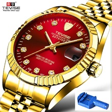 TEVISE Reloj Automático 629 para hombre, resistente al agua, con fecha de negocios, mecánico, de pulsera, luminoso, con diamantes