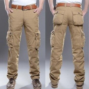 Tactical Cargo Pants Men Army Green Military Pants Cotton Many Pockets Man Casual Trousers 2019 Plus Size Mens Pants Khaki Black