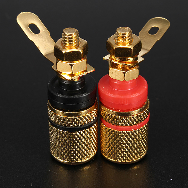 2018 2pcs Gold Plated Amplifier Speaker Terminal Binding Post Banana Plug Socket Connector Suitable for 4mm banana plugs mayitr 10pcs red black banana socket nickel plated binding post nut banana plug jack connector suitable for 4mm banana plug