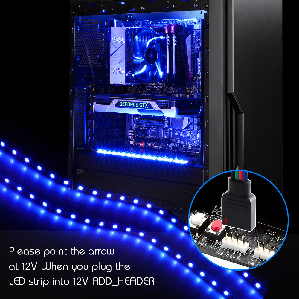 LED Strip Light RGB For 12V Motherboard Control / PC Computer Case 50CM 1M 2M With 4 Pin RGB-Header(+12V,G,R,B) Extension Wire