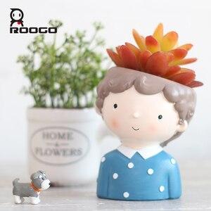 Image 3 - Roogo 꽃 냄비 succulents 홈 가든 장식 재배자 귀여운 소녀 화분 재배자 데스크탑 미니 액세서리 분재 냄비