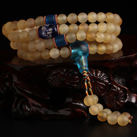 Natural Tibetan A+ Horn Buddhist 108 Prayer Beads with Colored Glaze Japa Mala Beads Rosary Bracelets Buddhist Meditation