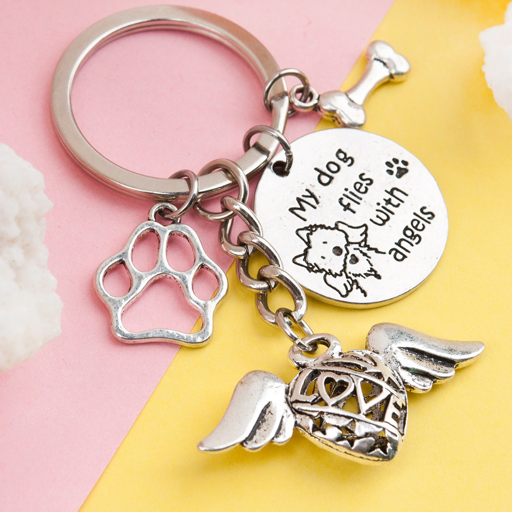 Doreen Box Handmade Handmade Pet Memorial Keychain & Keyring Fish Bone Heart Silver Color Cat Dog Wing Key Chains 1 Piece