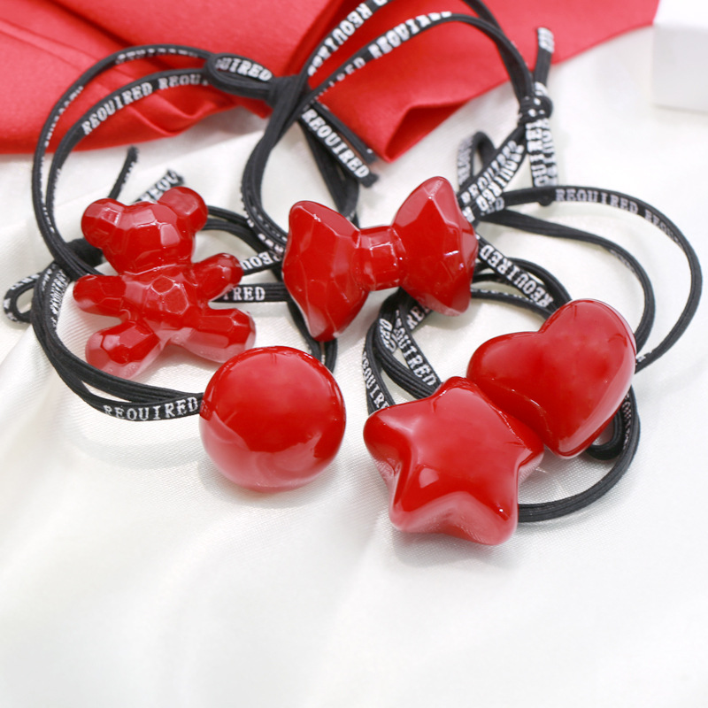 Childrent Beaded Head Rope Headdress Red Star Bear Heart Hair Bands High Elastic Bowknot Tied Hair Bands Tied  Girls Accessories