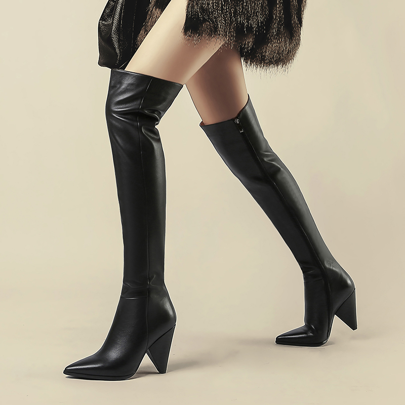 WETKISS Cow Leather Women Boots Pointed Toe Footwear Unusual High Heels Female Boot Over The Knee