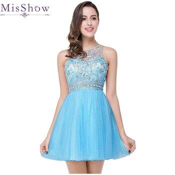 13d449e94 Vestido Curto imagen Real barato con cuentas de tul corto rosa azul vestidos  de fiesta 2019