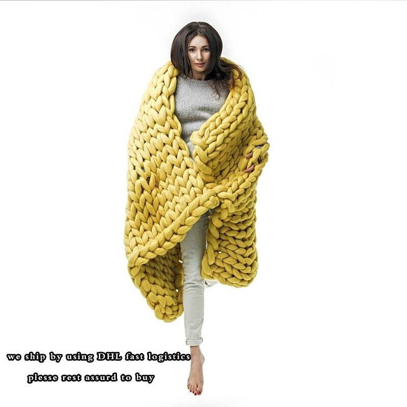 100X200 cm Polyester À Tricoter Jet Couvertures Photographie Props Épais Fil Mérinos De Laine Épais De Mode Géant Fil Main Chunky laine