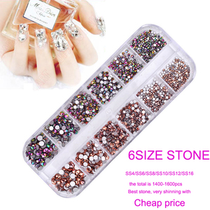 1 Box Glass Nail Art Rhinestones / Gems Sizes 6- Case Included - 12 Slot Nail Case - Round Gems in 12 colors Rhinestones Gems