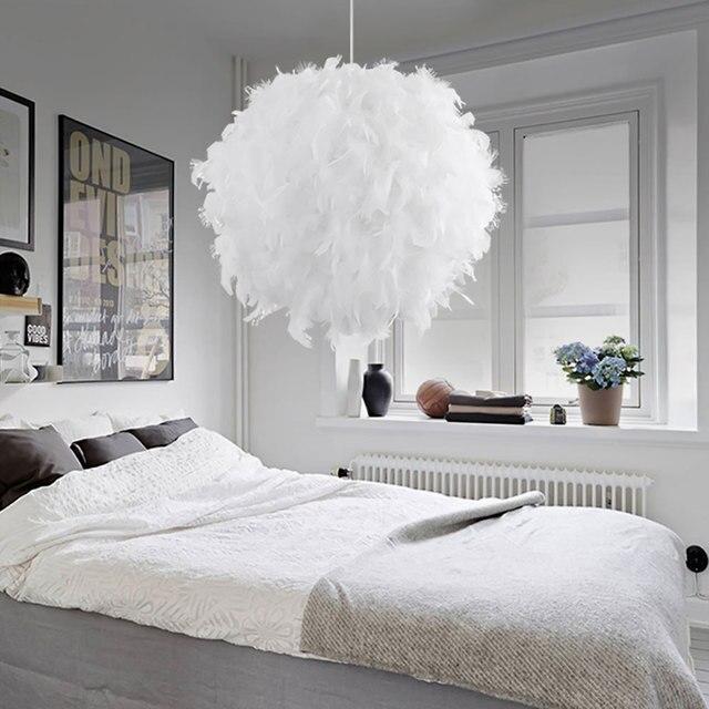 Lumiere Pendante Moderne Romantique En Forme De Boule De Pvc Plume