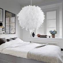 Modern Pendant Light Romantic Ball Shape PVC Feather Hanging Lamp Lamparas Lustre E27 110 240V For Bedroom Dinning Living Room