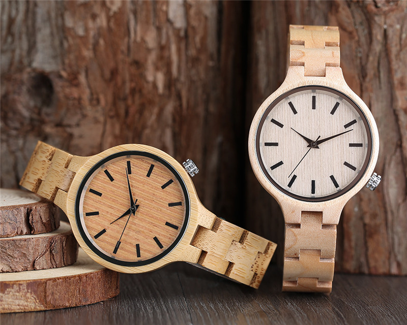Fashion Bamboo Wood Watch Women Creative Analog Quartz Sport Wristwatch Ladies Handmade Maple Wooden Watches Relojes Mujer Gifts classic style natural bamboo wood watches analog ladies womens quartz watch simple genuine leather relojes mujer marca de lujo