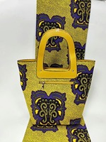 (3 шт./компл.) 6 ярдов Золото и фиолетовый ткань с батиком в африканском стиле и сумка и кошелек для африканских ткань набор Mar 23 2018
