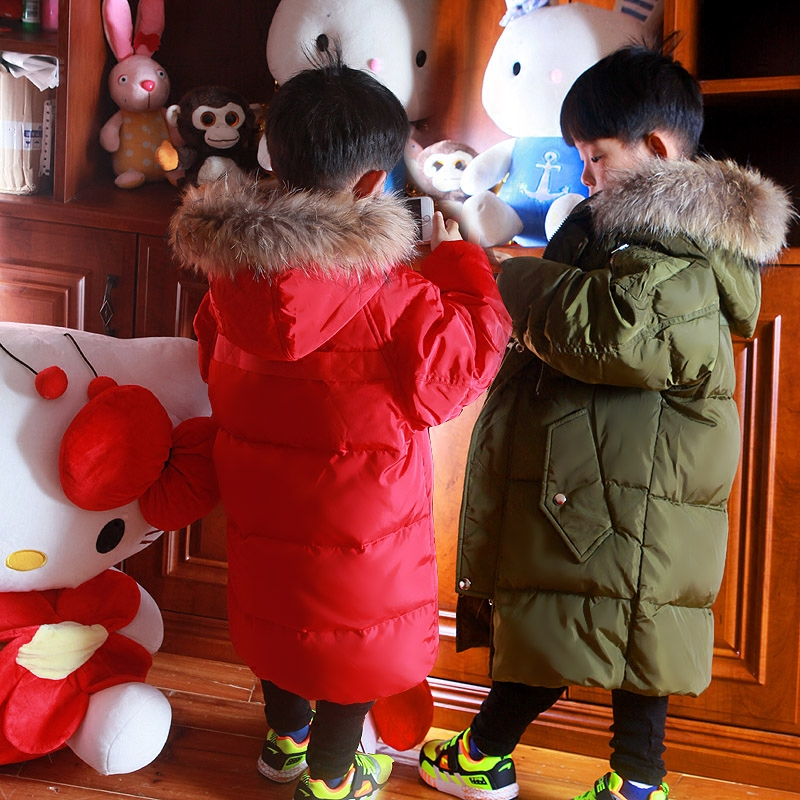 Children Down Boys Girls In Long Raccoon Fur Collar Hooded Warm Clothes Child Thickened Baby Coats White Feather Filler Jackets new winter baby girls clothes white duck down parka warm goose down jackets for kid warm long coats big fur hooded for children