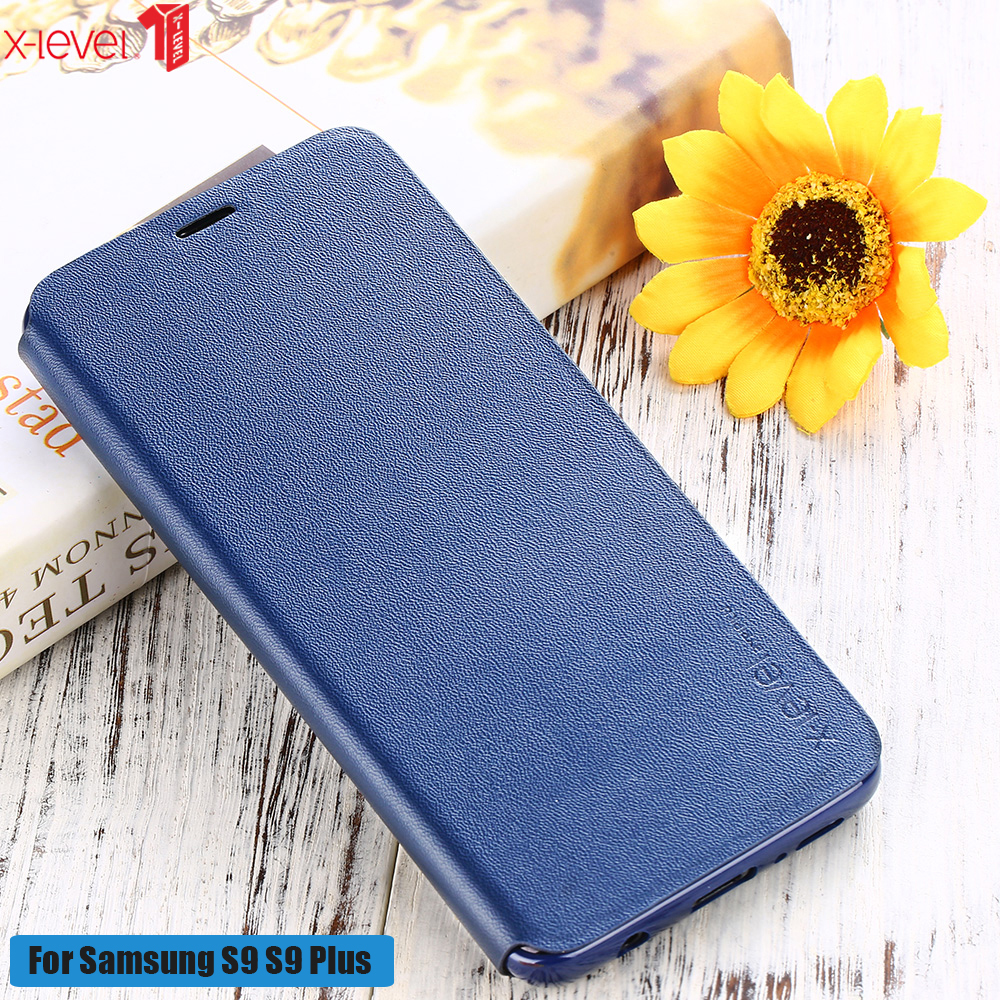For Samsung Galaxy S9 Case X-Level Silicone Edge Business Ultra Thin Luxury Leather Flip Cover For Samsung Galaxy S9 Plus Cases