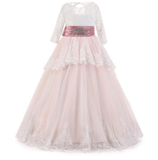 Girl's Formal Dress 2017 Winter Long Sleeve Flower Girls Princess Dresses Kids Lace Party Ball Gowns Children's Wedding Dress long criss cross open back formal party dress