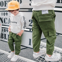 Brand Children Boy Cargo Pants Spring And Autumn Baby Boy Leisure Cotton Army Green Trousers Pocket
