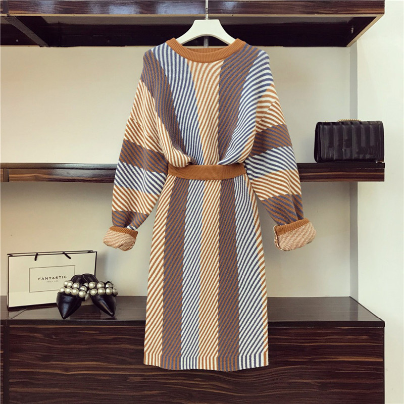 HIGH QUALITY 2019 Spring New Striped Sweater Suits Runway Knitting Lady Suits Women Long Sleeve Skirts Set