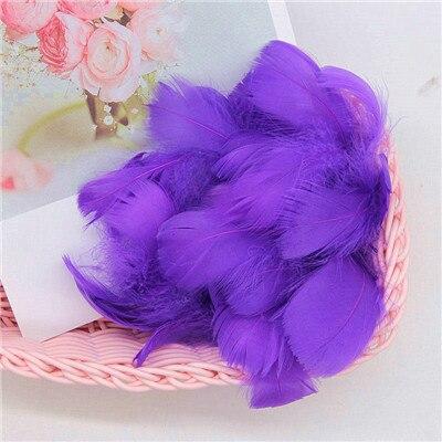 Разноцветные, 100 шт, гусиные перья, 8-12 см, гусиные перья, сценический шлейф, перья, промытый гусиный пух, пушистый шлейф для свадьбы, 3-4 дюйма - Цвет: dark purple
