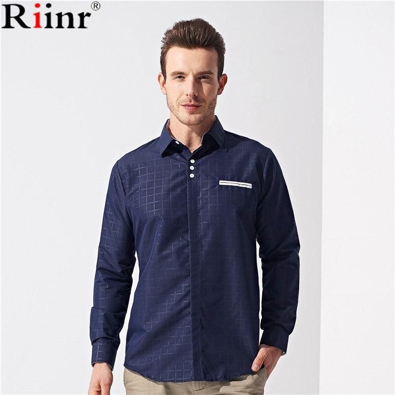 Riinr Spring Men Shirt Brand 2018 Male Large Size Long Sleeve Shirts Casual Hit Color Slim Fit Black Mens Dress Shirts M-3XL
