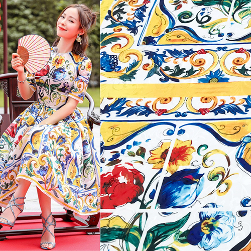 2.15meter Located Chinese Chine Handicrafts Majolica Slub imitation hemp Fabric for Woman Girl Summer Dresses Sewing DIY image
