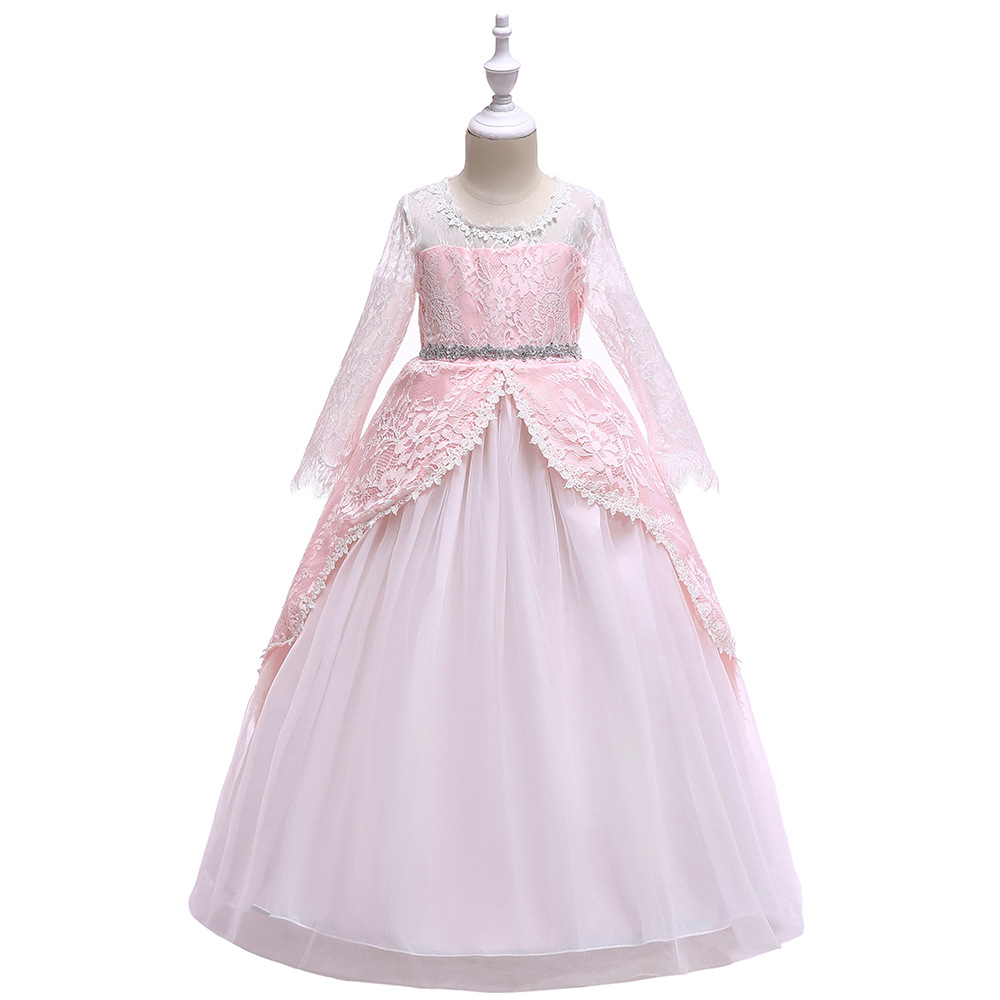 Tulle Long Sleeve Flower Girl Dresses Simple Country Style Patchwork Prom Party Wear Dress For Girls Birthday Communion FrockTulle Long Sleeve Flower Girl Dresses Simple Country Style Patchwork Prom Party Wear Dress For Girls Birthday Communion Frock