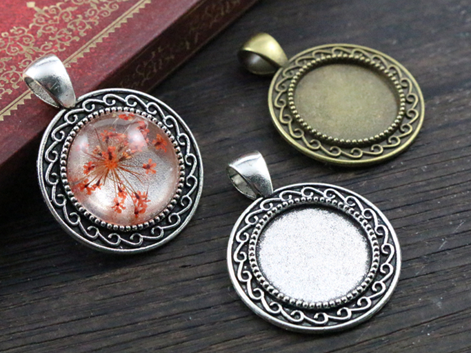 10pcs 18mm Inner Size Antique Bronze And Silver S Texture Style Cabochon Base Cameo Setting Charms Pendant