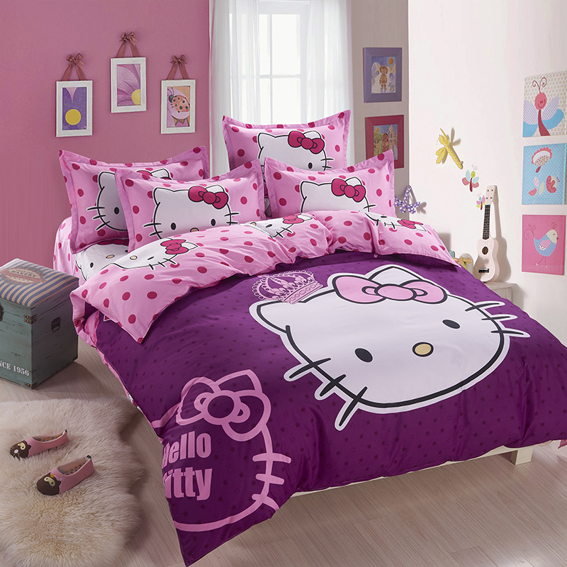 Home Textile Cute Purple Kitty Bedding Set Cartoon Cotton Bed Include Duvet Cover