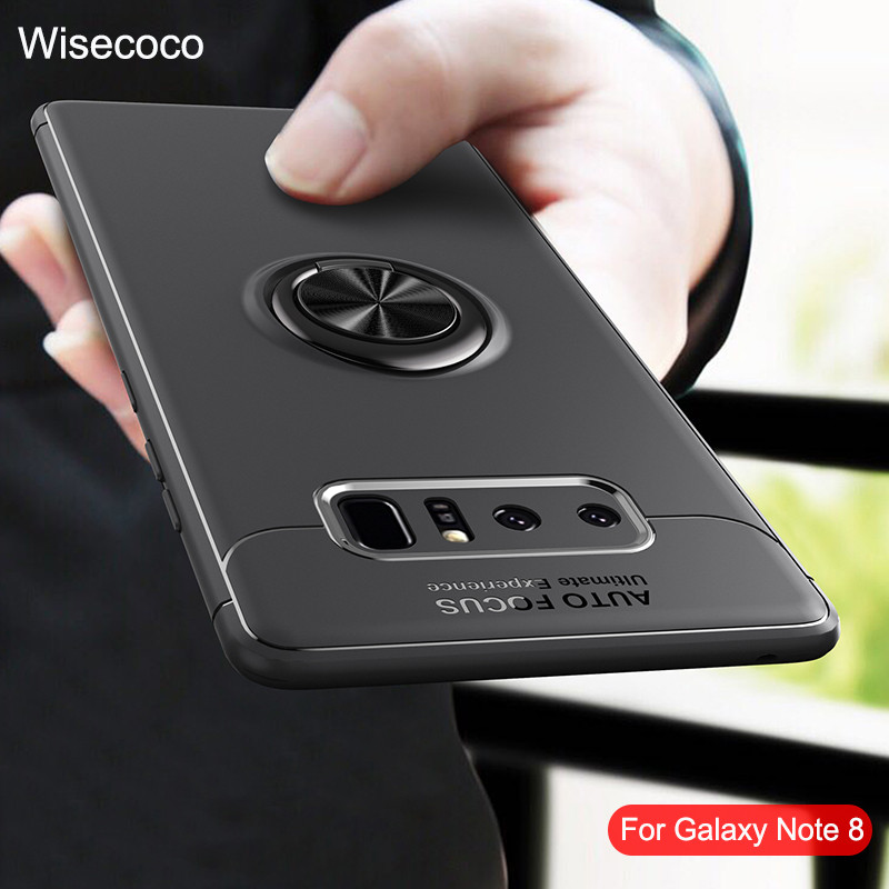 Phone Cases For Samsung Galaxy Note 8 Magnetic Bracket Ring Car Holder Luxury Silicon Shockproof Tpu Back Cover For Galaxy Note8