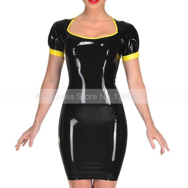 S Robe Femmes Avec Zip Retour Vêtements Made Caoutchouc Fille ld256 Serré En Picture As Latex Sexy Custom Costumes fq5w6gn