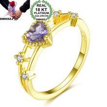 OMHXZJ Wholesale European Fashion Woman Girl Party Wedding Gift Heart Amethyst AAA Zircon 18KT White Yellow Rose Gold Ring RR479 цена и фото