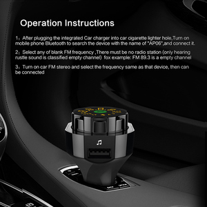 Image 2 - AP06 QC3.0 szybka bezprzewodowa ładowarka samochodowa nadajnik bluetooth fm odtwarzacz MP3 zestaw głośnomówiący zestaw samochodowy z dwoma portami USB i AUX