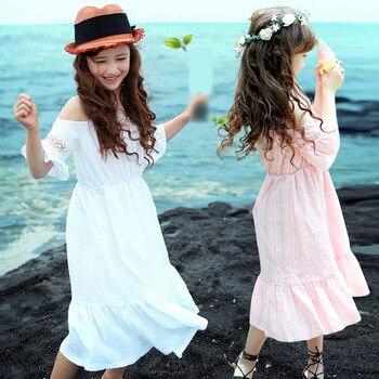 efff808db Vestido de verano para niñas, vestidos de princesa de encaje de algodón para  adolescentes, ropa para niños de 3-14 años, rosa/blanco