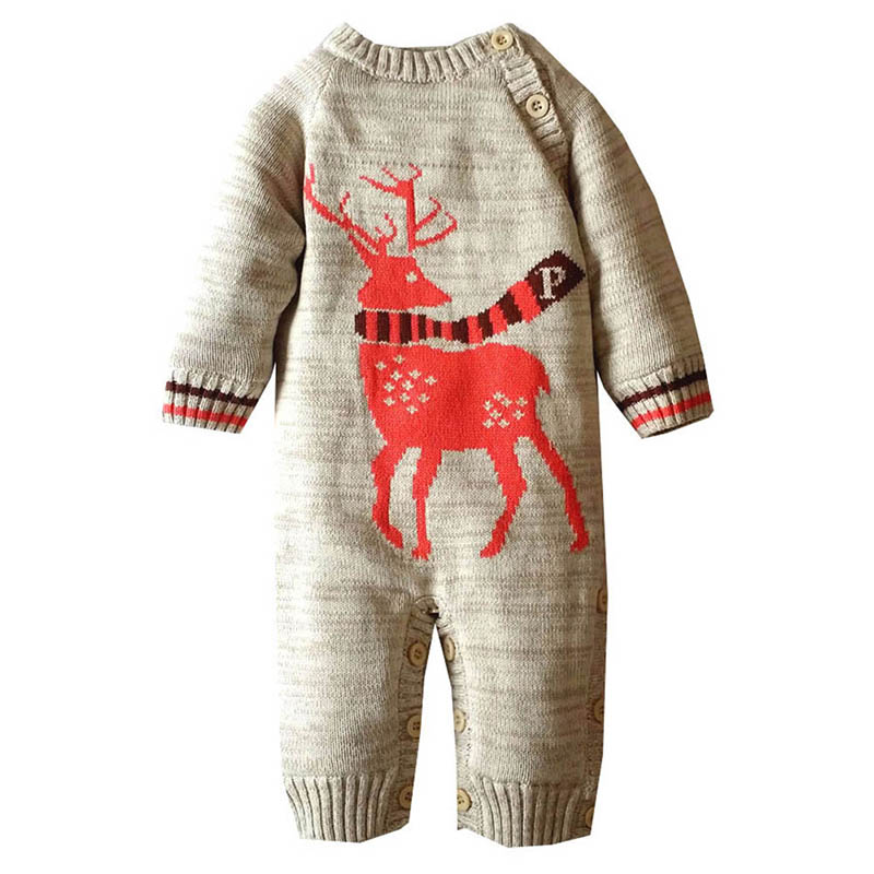 Winter Baby Long Sleeve  Jumpsuit Baby Kids Boys Girls Thick Rompers Outfits Christmas Cartoon Clothes Cute Infant 2017 baby boys girls long sleeve winter rompers thicken warm baby winter clothes roupa infantil boys girls outfits cc456 cgr1
