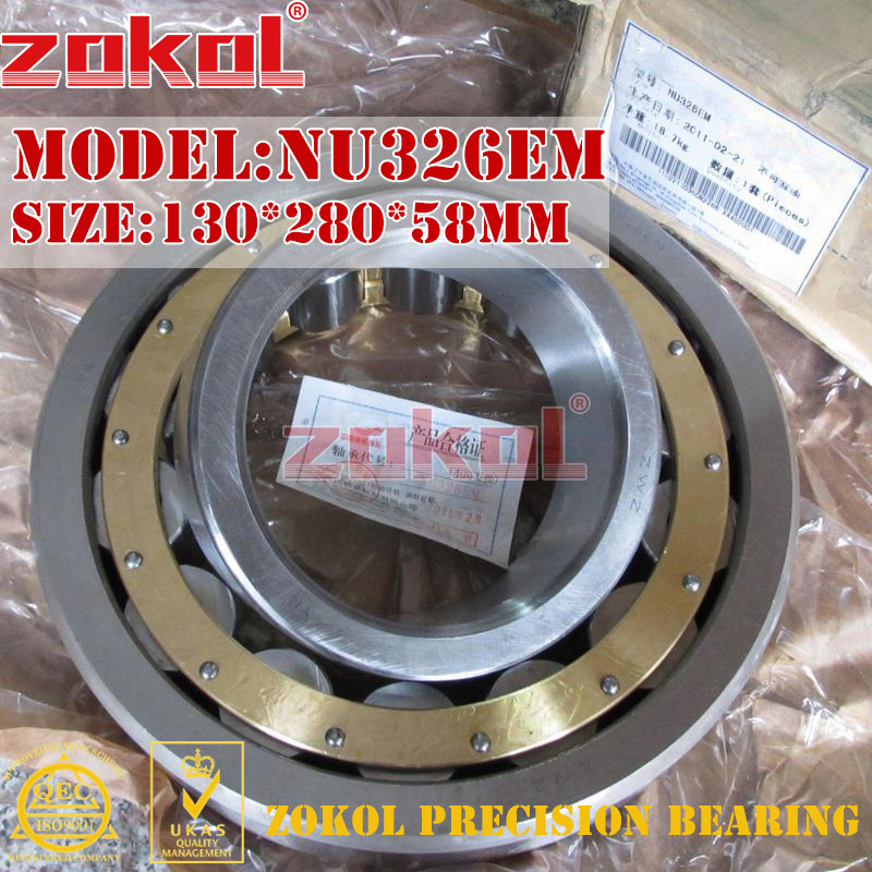 ZOKOL NU326 E M bearing NU326EM 32326EH Cylindrical roller bearing 130*280*58mm