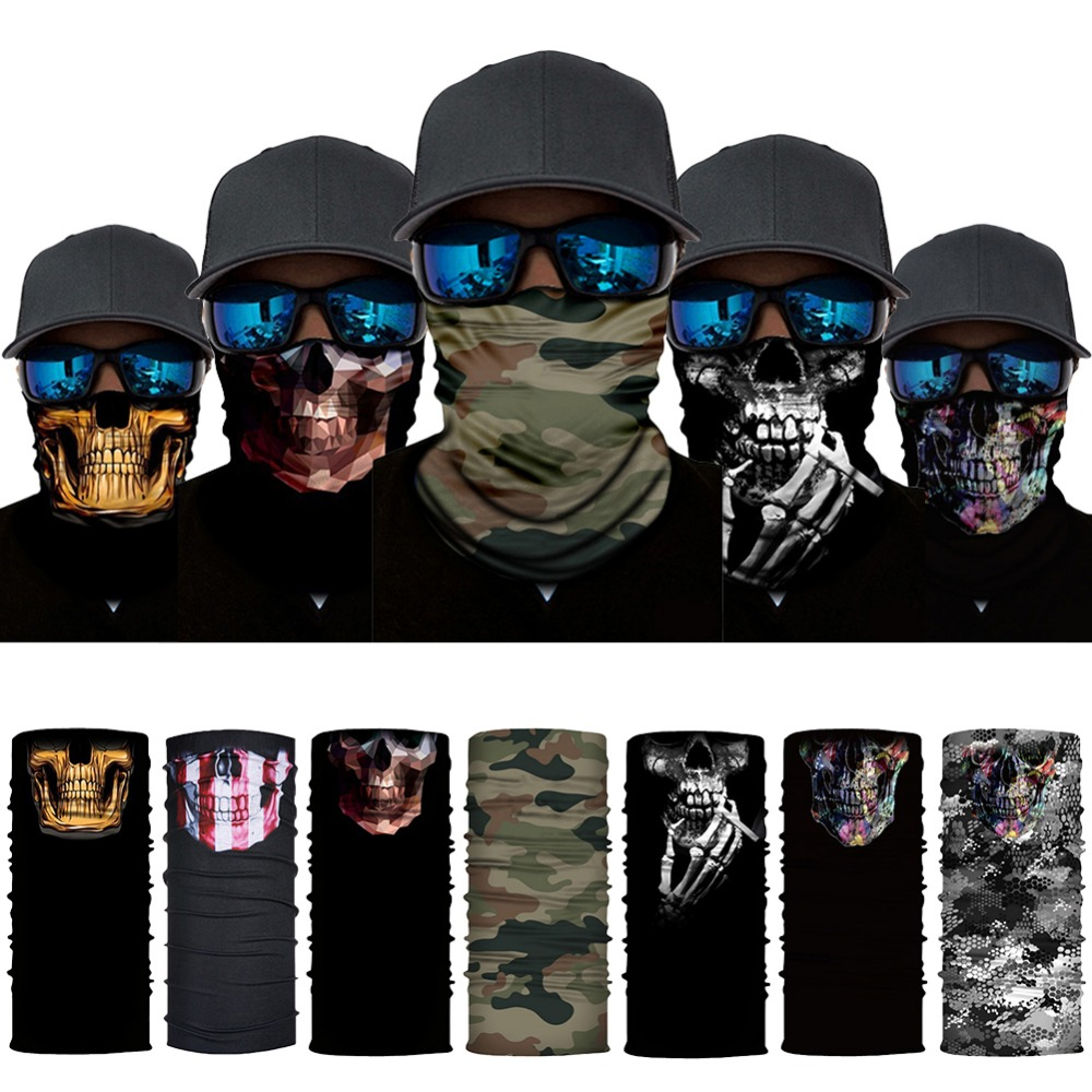 3D Seamless Balaclava Magic Scarf Neck Face Mask Ghost Skull Skeleton Head Bandana Shield Headband Headwear Bandana Men Bicycle bandana husky bandana
