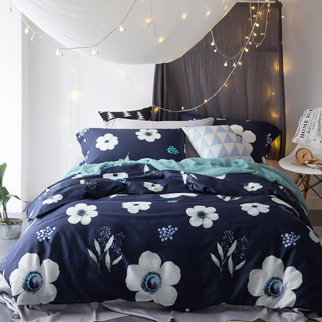 Home textile blue bedding set with white flower 100cotton king home textile blue bedding set with white flower 100cotton king queen size duvet cover mightylinksfo