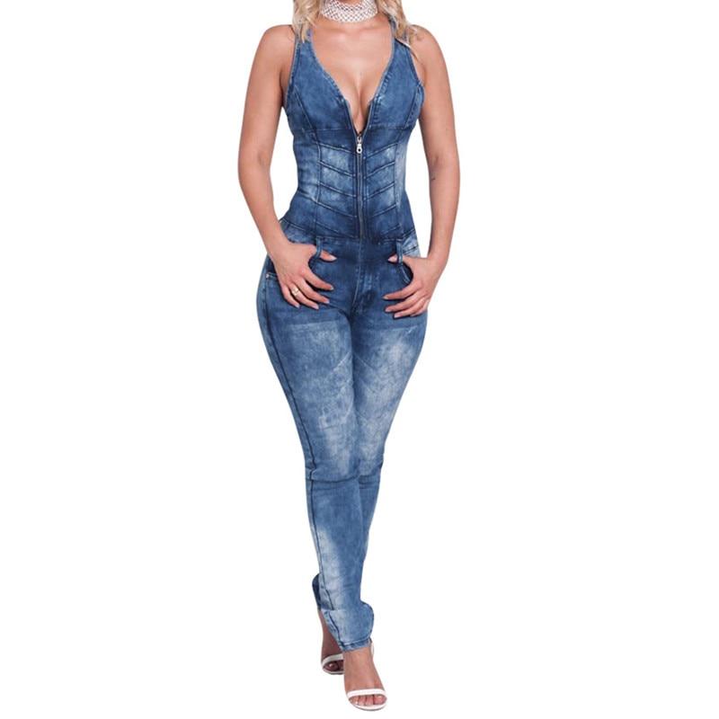8b98eab57c95 2018 women catsuit Jumpsuits jeans Pants long pants Ladies sexy jeans long  sexy sleeveless deep V