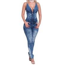 fefcfc8c644435 2018 vrouwen catsuit Jumpsuits jeans Broek lange broek Dames sexy jeans  lange sexy mouwloze diepe V kraag blauw slanke stijl