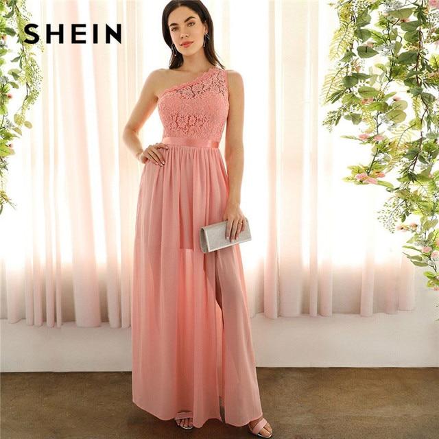 SHEIN Sexy rose dentelle une épaule fente avant mixte médias Maxi robe femmes Empire une ligne fente ourlet longues robes de fête dété
