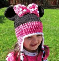 Cute Infant Toddler Baby Boys Girls Cartoon Mouse Bowknot Crochet Handmade Knitted Hat With Ear Flap