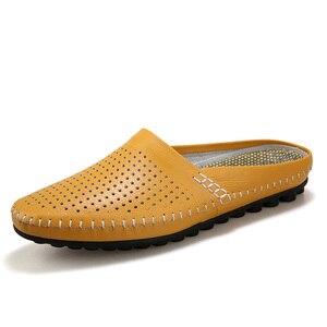 Image 3 - Sanzoog yaz Slip On nefes deri yarım ayakkabı erkekler için rahat slip ons moda düşük Dropshipping tedarikçiler siyah mavi