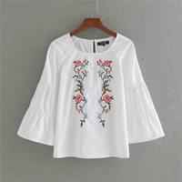 New 2017 Women Summer Fashion Blusa O Neck Back Buttoned Opening Frong Floral Embroidery Flare Sleeve
