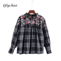 Qlychee Flower Embroidery Women Blouse Shirt Top Clothing Spring Autumn Fashion 2017 Blusas Long Sleeve High
