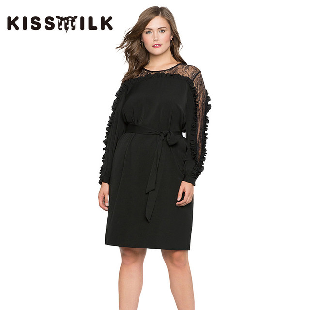 plus size spring western style fashion sexy patchwork lace long sleeve Large  Size 3XL-7XL black woman s Casual dress 66cdacb2488e