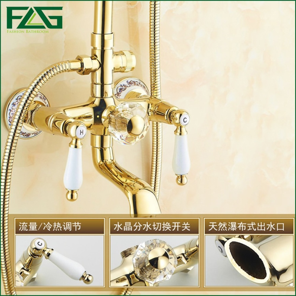 Flg Rainfall Shower Faucet With Slide Bar Tub Three Handle Set Porcelain Golden Bronze Wall Mounted Faucets Hs035 In From Home