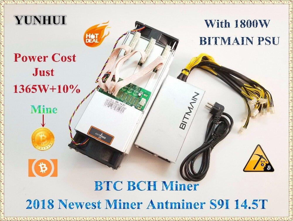 YUNHUI más AntMiner S9i 14,5 T Bitcoin minero con BITMAIN APW7 1800 W Asic minero SHA-256 Btc BCH minero mejor que Antminer S9