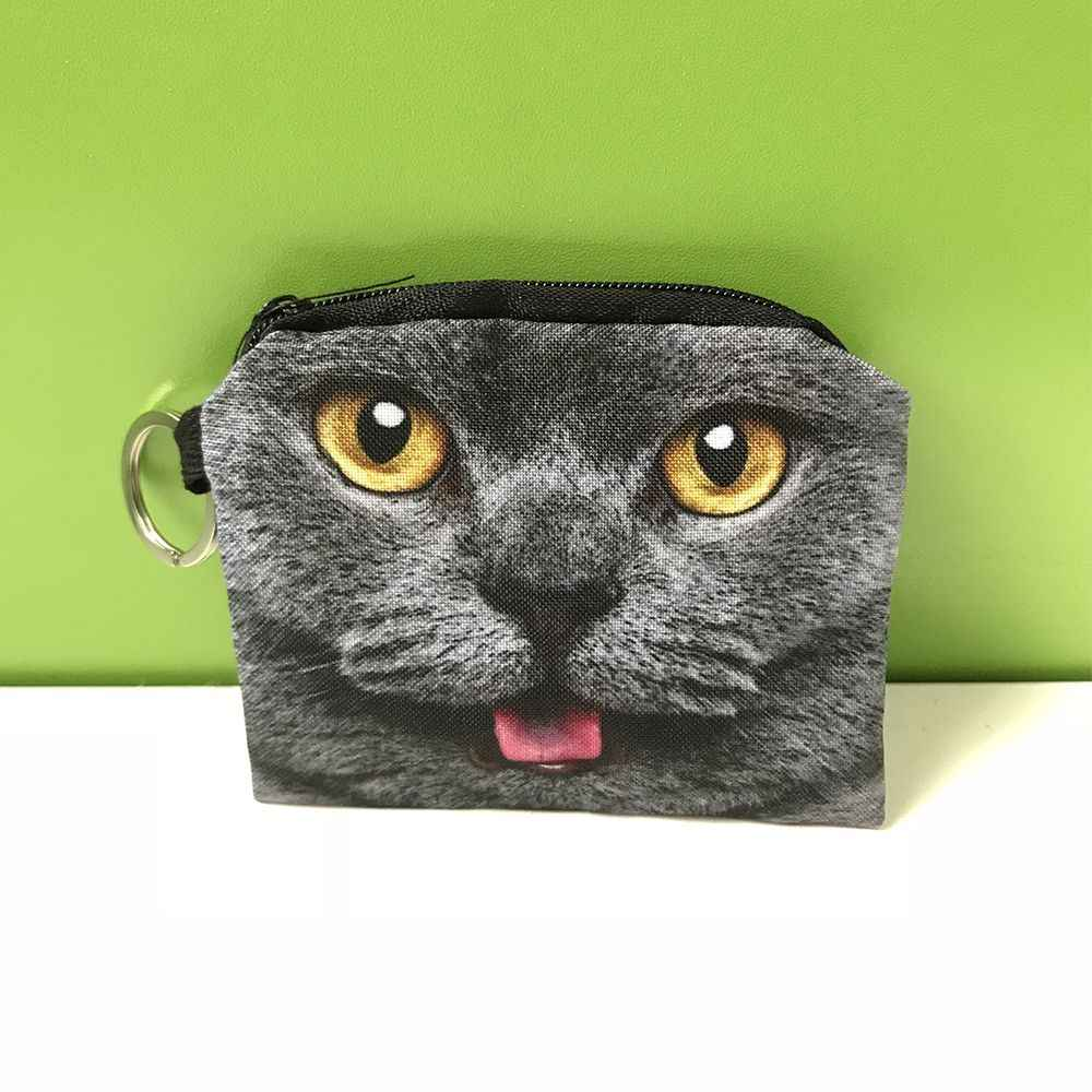 1 PZ Piccolo Cute Cartoon Cat Women Girl Canvas Zipper Coin Purse Wallet Auricolare Carta Sacchetto Di Immagazzinaggio Chiave
