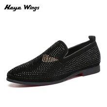 Heye Wings Slip-on dress shoes men Matte leather rhinestone casual red sole