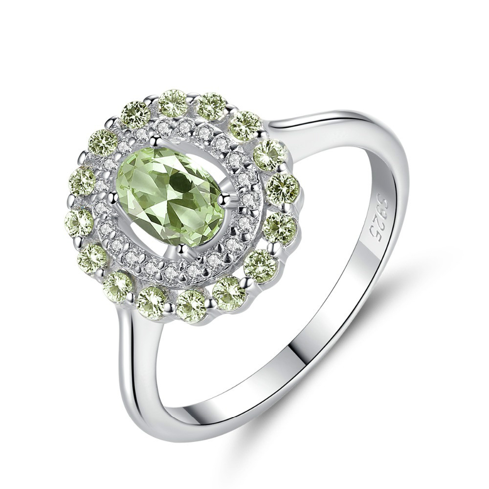 Exquisite Silver 925 Sterling Finger Rings For Women Olive Green Stone Oval Cut Engagement Ring Vintage Fine Jewelry Gift