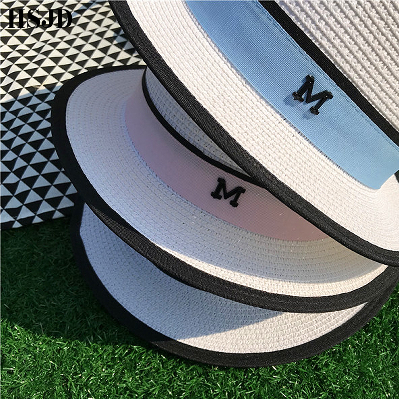 Image 5 - M Letter Ribbon Round Flat Top Straw beach hat Lady Boater sun caps M panama straw fedora women's travel Sun cap gorras-in Women's Sun Hats from Apparel Accessories